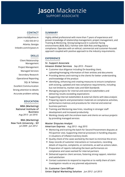 support associate resume  cv sample