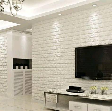 jual wallpaper dinding motif bata putih  putih matte