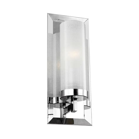 millennium lighting 1 light chrome wall sconce with etched