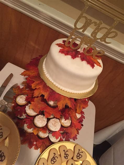Bride To Be Falling In Love Fall Leaves Cake And Cupcakes