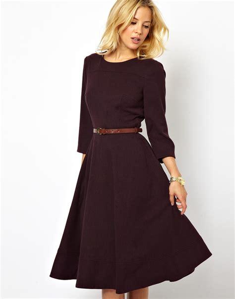 asos midi dress  belt  purple lyst