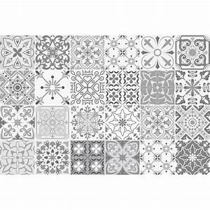Carreaux De Ciment Autocollant : 24 stickers carreaux de ciment nuances de gris gythio ~ Premium-room.com Idées de Décoration