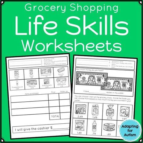 life skills worksheets grocery store teaching life