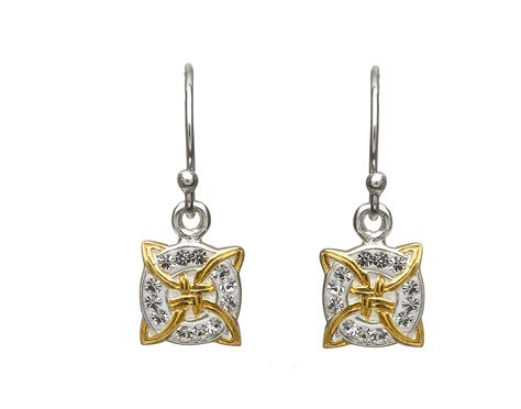 sterling silver square hook fitting earrings  yellow