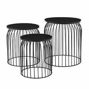 Couchtisch Schwarz Metall : metallkorb beistelltisch couchtisch sofatisch 3er set deko schwarz ~ Eleganceandgraceweddings.com Haus und Dekorationen