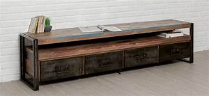 Tele 180 Cm : grand meuble tv indus en teck recycl et m tal 180 cm york ~ Teatrodelosmanantiales.com Idées de Décoration