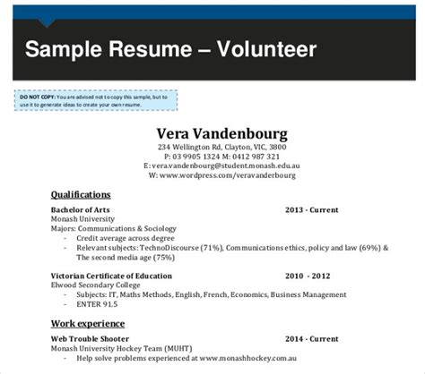 volunteer resume templates    premium