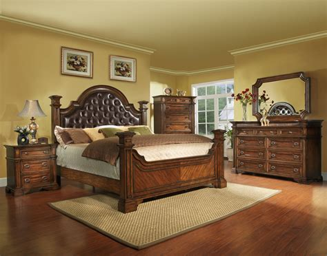 king size antique brown bedroom set wood  shipping