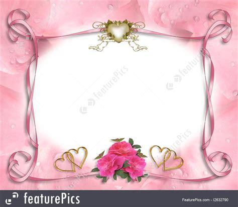 wedding invitation border pink roses illustration
