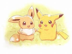 Pikachu and Eevee | We Heart It | pokemon, pikachu, and cute
