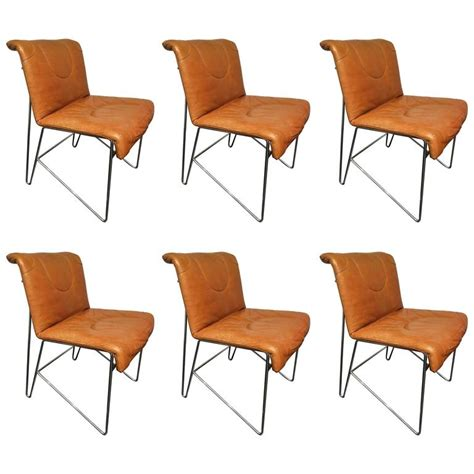 set of six italian leather and chrome dining chairs at 1stdibs