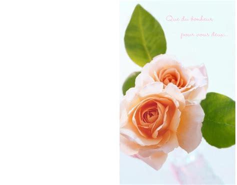 carte de voeux pour mariage carte vœux pour mariage fleurie roses imprimer
