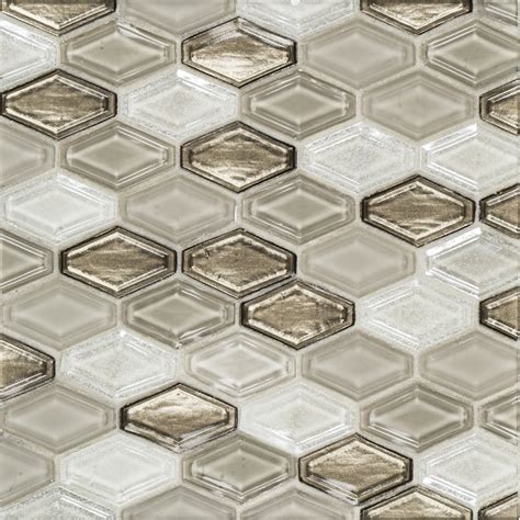 elongated hex tile 10 5 quot x 11 375 quot glass beveled elongated hex brown jeffrey court tile