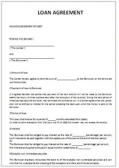personal loan agreement template 5 loan agreement templates to write agreements