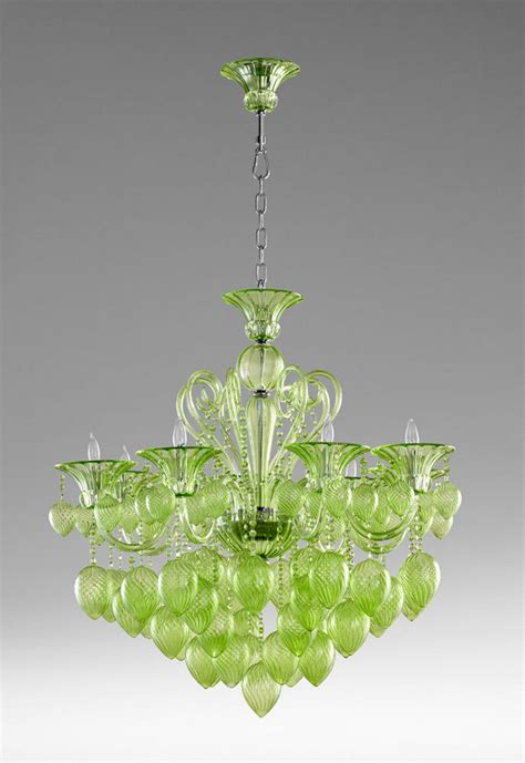 Chandeliers Glass by Green Glass Chandelier 8 Light Murano Style