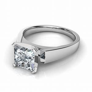 flat edged cushion cut solitaire diamond engagement ring With flat wedding rings with diamonds
