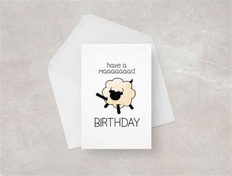 funny sheep birthday card mad birthday crazy lamb etsy
