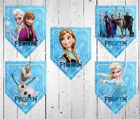 Banderines de Frozen para decorar cumpleaños Frozen