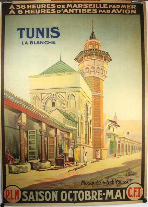 tunis la blanche original vintage travel poster tunisia