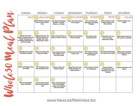 meal planning calendar whole30 food planner food
