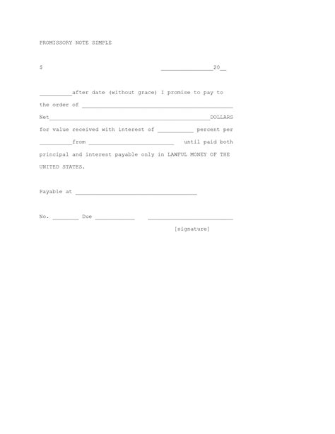 basic  simple promissory note form  microsoft word