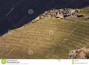 Inca Ruins And Terraces At Qantus Raqay - Peru Stock Photo ...