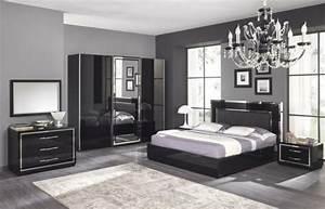 moderne chambre a coucher complete archzinefr With chambre grise et noire