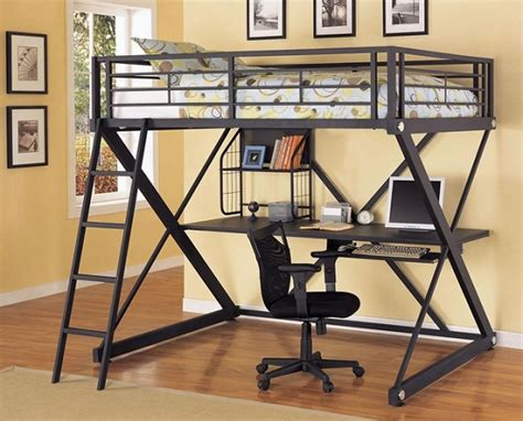 metal loft bed with desk under metal bunk bed with desk underneath in black finish home