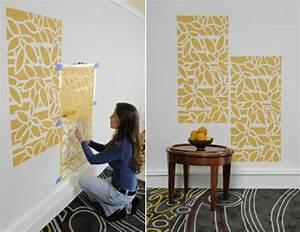 W?nde streichen kreative ideen mit wandschablonen