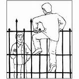Fence Climbing Cemetery Coloring Halloween Printable Print sketch template
