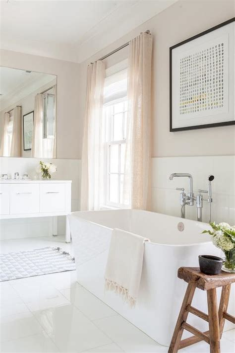 Light Pink Bathroom by Freestanding Rectangular Bathtub With Pink Curtains
