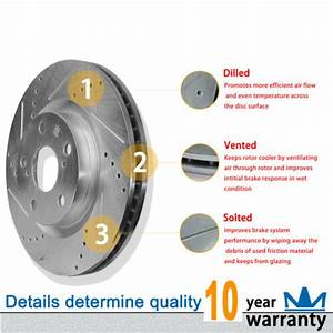 Combo Drilled Slotted Disc Brake Rotors Ceramic Pads Fit