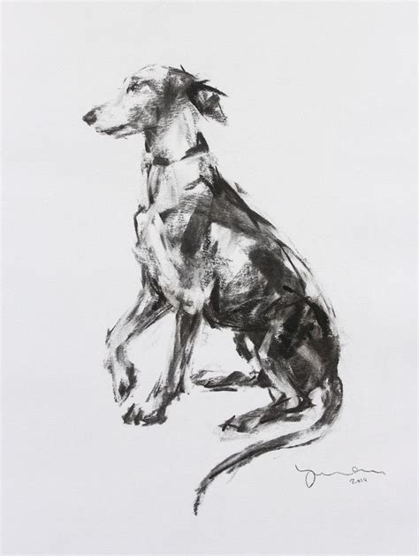 sold whippet paw charcoal sketch original dogs