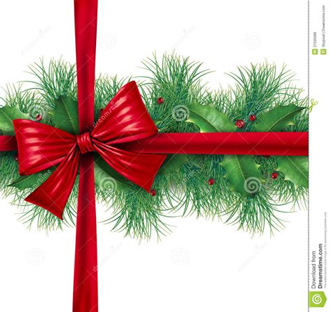 red bow gift wrapping  pine border royalty  stock