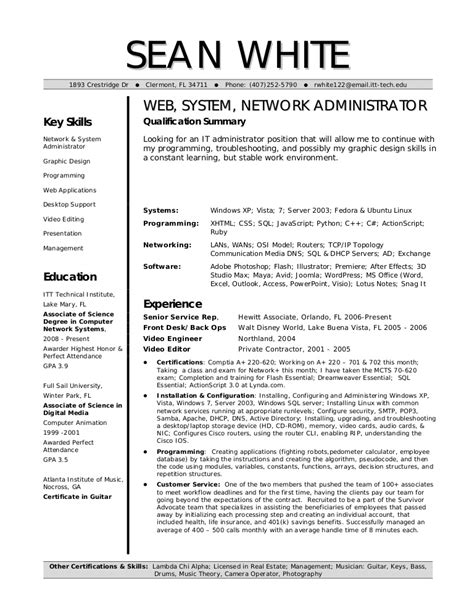 Admin Resume by White System Network Admin Resume