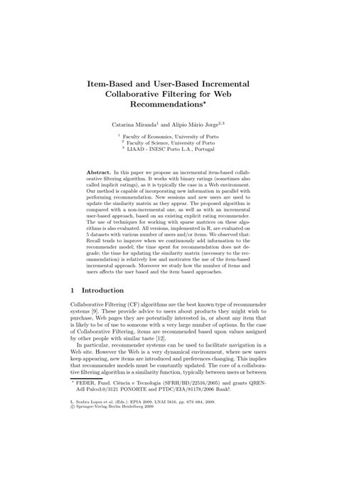 (PDF) Item-Based and User-Based Incremental Collaborative