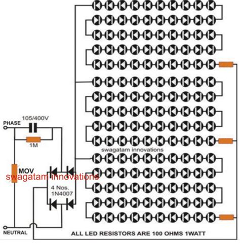 Serial Lighting Diagram by Simple Transformerless Led Light Circuit With Pcb
