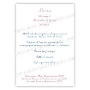 exemple menu mariage exemple de menu mariage