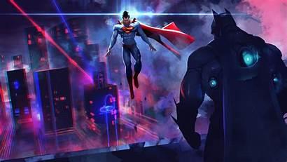 Neon Superman Batman Wallpapers Dc Comics Vs