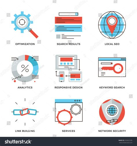 Thin Line Icons Website Search Engine Stock Vector