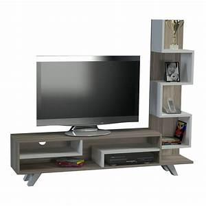 Meuble Tv Avec Etagere : wooden art meuble tv avec tag res bicolore brandalley ~ Teatrodelosmanantiales.com Idées de Décoration