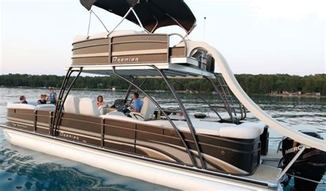 Pontoon With Upper Deck And Slide For Sale by Research 2014 Premier Marine 310 Sky Dek On Iboats