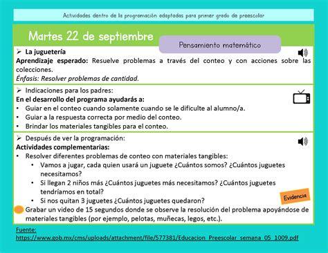 ¡hoy comparto contigo un libro de actividades de aprendizaje para preescolar! PREESCOLAR Quinta semana Aprende en casa_Página_07 ...