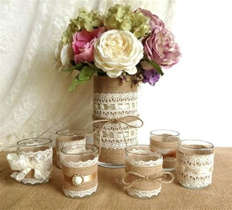 burlap and lace covered votive tea candles and vase country chic wedding decorations 2085951