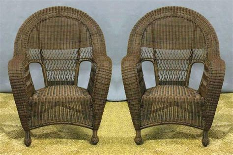 charleston outdoor high back wicker dining chairs 2 all