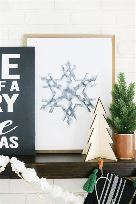 black white modern snowflake christmas mantel decor