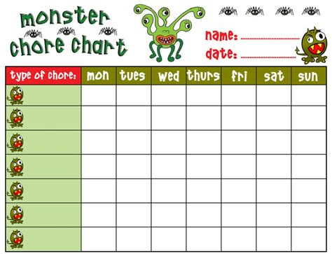 free chore chart free printable chore charts for activity shelter