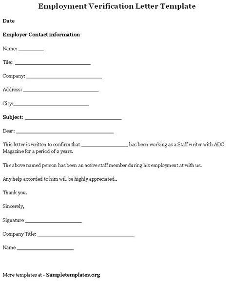 printable letter  employment verification form