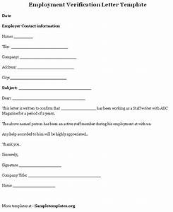 Employment template for verification letter format of for Voe template