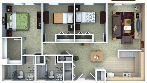 3 Bedroom Apartment Floor Plans by Richmond Apartments Floor Plans